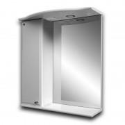 """Зеркало """"КВАДРО 07Л"""" 60см шкаф слева, свет, выкл., розетка, белое"""