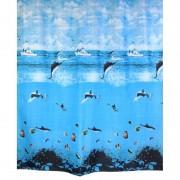 "Шторка для ванной ""Дельфины"" (арт. 1261) 180х200 без колец (PL)"
